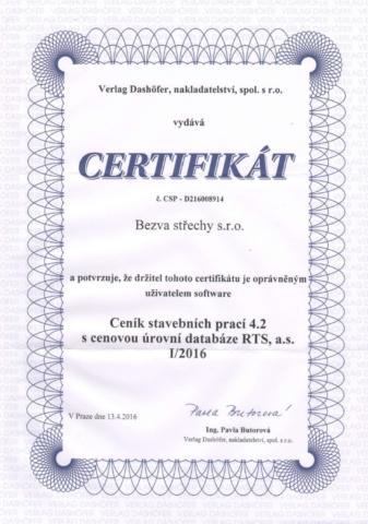 Certifikáty Bezva střechy Třinec 14